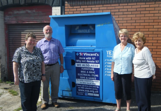 Lorraine Healy (Manager), Mike O'Callaghan (Management Committee Chair), Pat Scothern (volunteer) and Anne White (volunteer) pictured with the new clothing bank