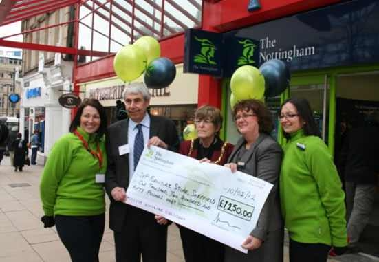 Ralph Dickins and The Lord Mayor Sylvia Dunkley receive a cheque from Nottingham Building Society